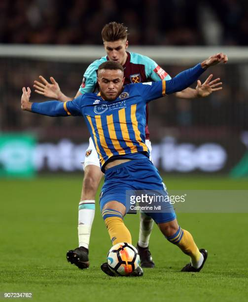 Carlton Morris of Shrewsbury Town during the Emirates FA Cup Third Round Replay match between West Ham United and Shrewsbury Town at London Stadium...