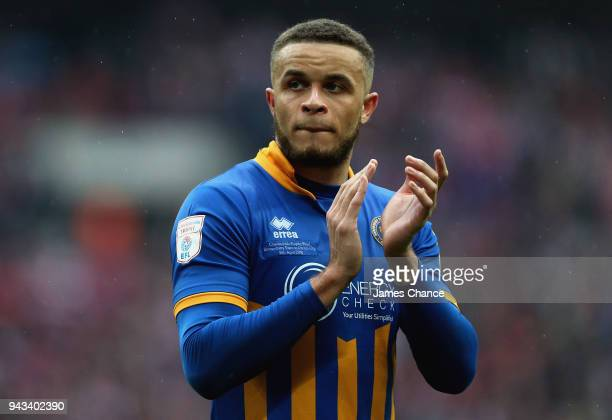 Carlton Morris of Shrewsbury Town looks dejected after the Checkatrade Trophy Final match between Shrewsbury Town and Lincoln City at Wembley Stadium...