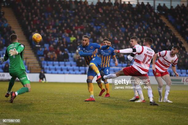 Carlton Morris of Shrewsbury Town scores a goal to make it 20 during the Sky Bet League One match between Shrewsbury Town and Doncaster Rovers at New...