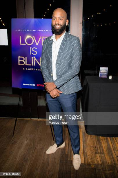 Carlton Morton attends the Netflix's Love is Blind VIP viewing party at City Winery on February 27 2020 in Atlanta Georgia