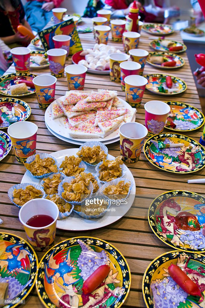 Party Food And Drinks Fill A Table At A Childrens Birthday Party - Children's birthday parties melbourne