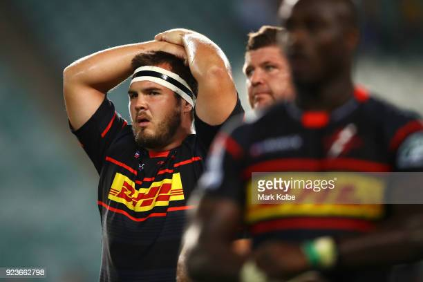 Carlu Sadie of the Stormers looks dejected after defeat during the round two Super Rugby match between the Waratahs and the Stormers at Allianz...