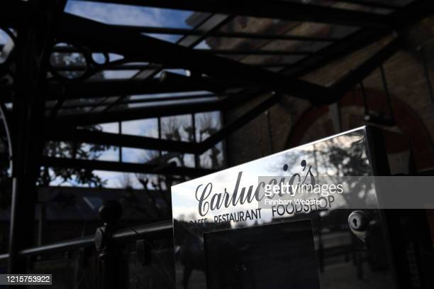 Carluccio's Italian restaurant sign on March 30 2020 in Dorchester United Kingdom Carluccio's Italian restaurant chain has fallen into administration...