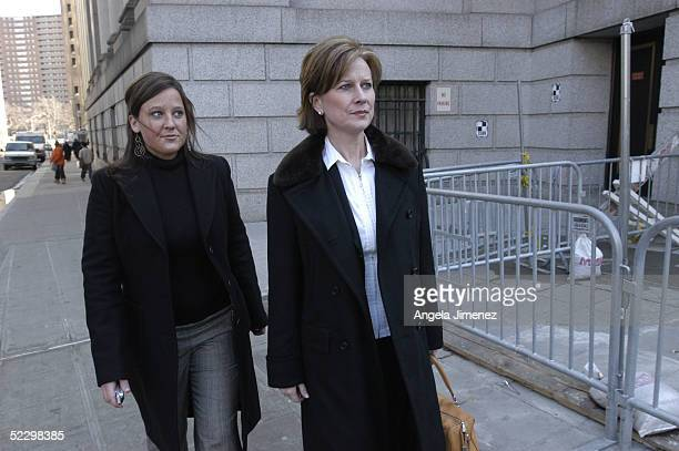 Carly and Kristie Ebbers the daughter and wife respectively of Bernie Ebbers former chief executive officer of WorldCom take a break from federal...