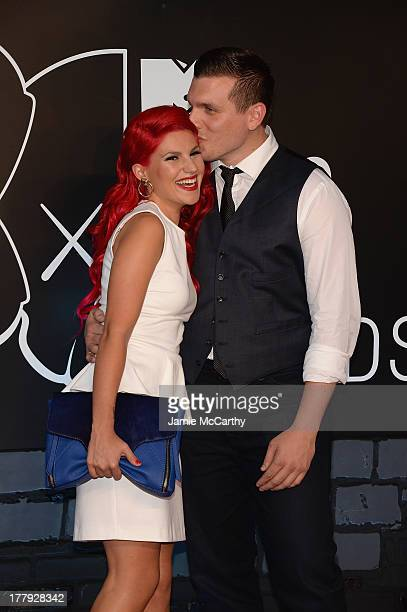 Carly Aquilino and Chris Distefano attend the 2013 MTV Video Music Awards at the Barclays Center on August 25 2013 in the Brooklyn borough of New...