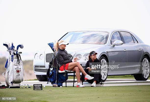 Carly Booth of Scotland and Amy Boulden of Wales pictured during the Amateur Championship of the Abu Dhabi Invitational at Yas Links Golf Course on...