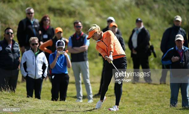 Carly Booth of Scotland hits her 2nd shot on the 5th hole during the First Round of the Ricoh Women's British Open at Turnberry Golf Club on July 30...