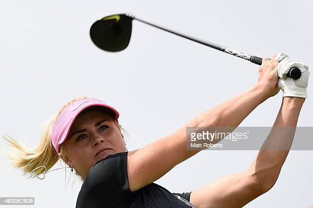Carly Booth of Scotland hits her tee shot on the 7th hole during day three of the 2015 Ladies Masters at Royal Pines Resort on February 14 2015 on...