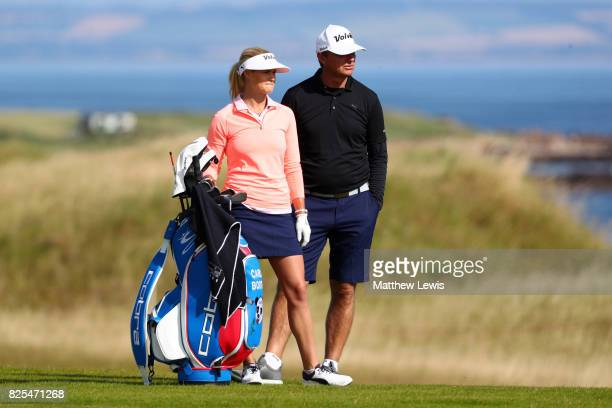 Carly Booth of Scotland looks on during a practice round prior to the Ricoh Women's British Open at Kingsbarns Golf Links on August 2 2017 in...