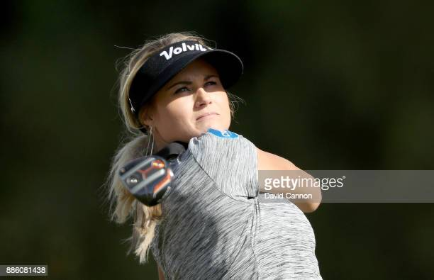 Carly Booth of Scotland plays a shot during the proam for the 2017 Dubai Ladies Classic on the Majlis Course at The Emirates Golf Club as a preview...