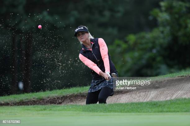 Carly Booth of Scotland plays from a bunker during The Berenberg Gary Player Invitational 2017 at Wentworth Club on July 24 2017 in London England