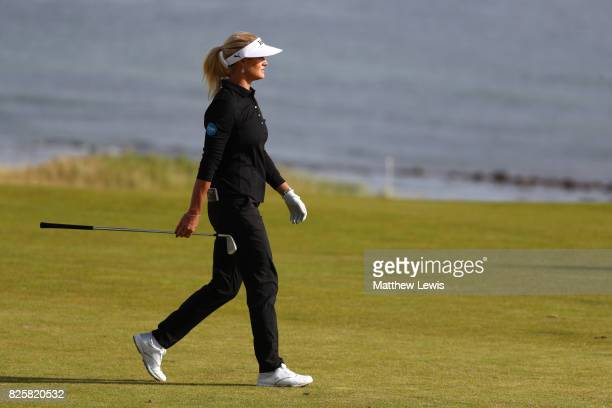 Carly Booth of Scotland walks down the 3rd hole during the first round of the Ricoh Women's British Open at Kingsbarns Golf Links on August 3 2017 in...
