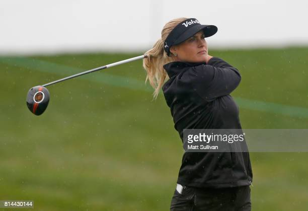 Carly Booth of Scotland watches her tee shot on the 11th hole during the second round of the US Women's Open Championship at Trump National Golf...