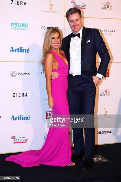 Carly Bowyer and Troy Delmege arrive at the 60th Annual Logie Awards at The Star Gold Coast on July 1 2018 in Gold Coast Australia