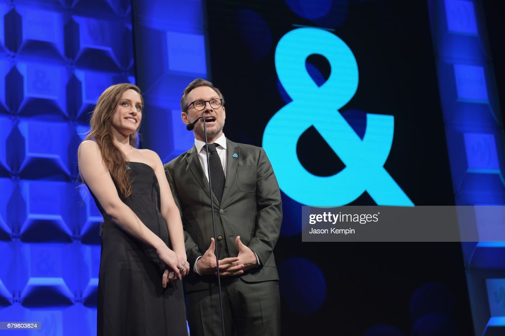 Carly Chaikin and Christian Slater Speak onstage at the 28th Annual GLAAD Media Awards at The Hilton Midtown on May 6, 2017 in New York City.