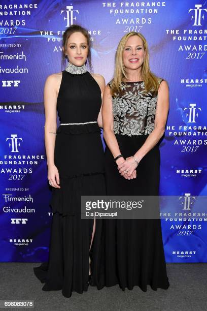 Carly Chaikin and Emily Bond poses backstage at the 2017 Fragrance Foundation Awards Presented By Hearst Magazines at Alice Tully Hall on June 14...