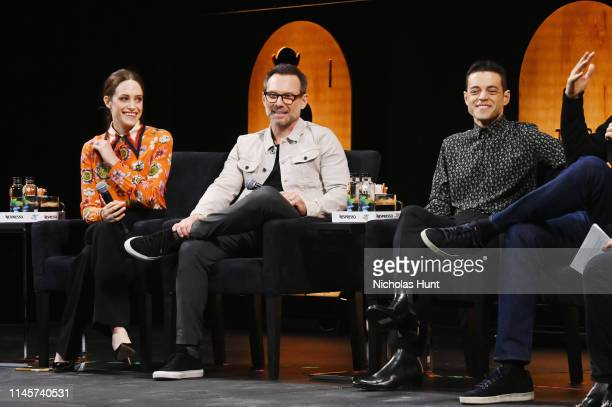 Carly Chaikin Christian Slater and Rami Malek speak at Tribeca Talks A Farewell To Mr Robot 2019 Tribeca Film Festival at Spring Studio on April 28...