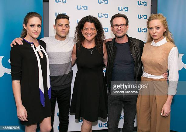 Carly Chaikin Rami Malek Debra Birnbaum Christian Slater and Portia Doubleday attend SAG Foundation's Conversations series screening of Mr Robot at...