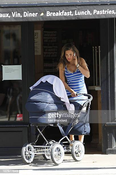 Carly Cole Sighted having lunch with her daughted Ruby Tatiana the day Joe Cole Signs for Liverpool FC on July 19 2010 in London England