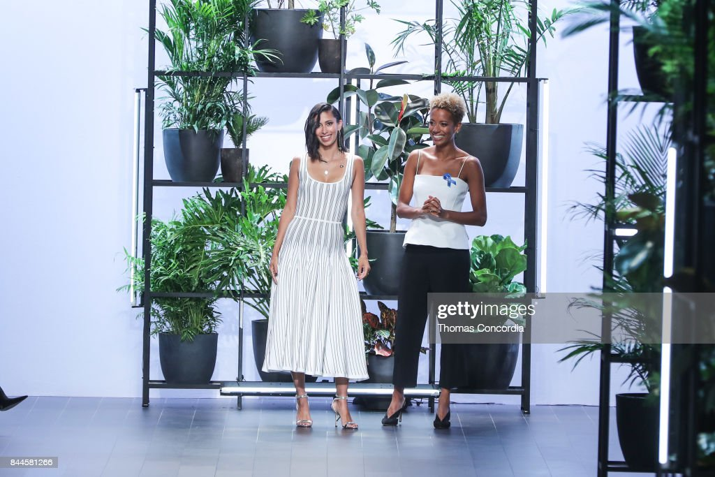 Carly Cushnie and Michelle Ochs greet the audience after presenting the Cushnie et Ochs Spring 2018 collection during New York Fashion Week at Gallery 1, Skylight Clarkson Sq on September 8, 2017 in New York City.