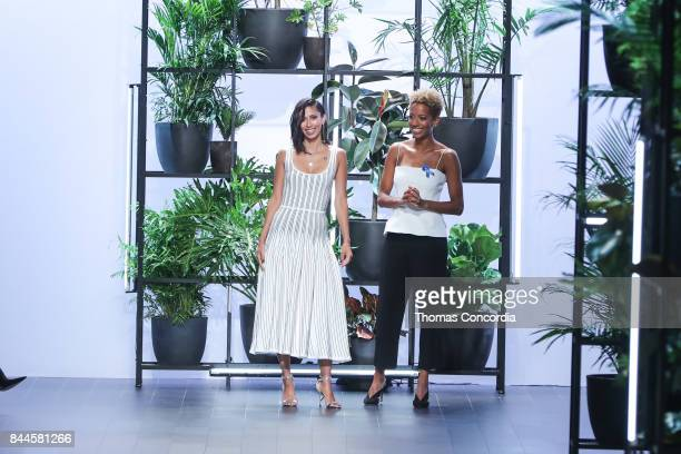 Carly Cushnie and Michelle Ochs greet the audience after presenting the Cushnie et Ochs Spring 2018 collection during New York Fashion Week at...