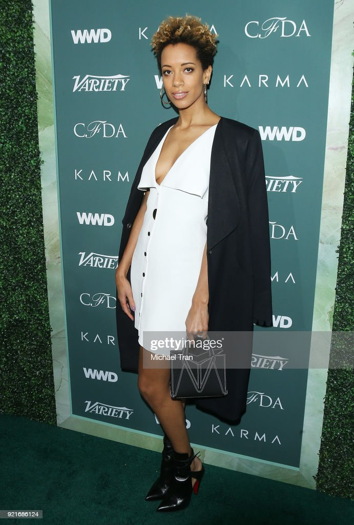 Carly Cushnie arrives to the Council of Fashion Designers of America luncheon held at Chateau Marmont on February 20, 2018 in Los Angeles, California.