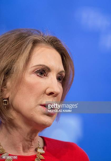 Carly Fiorina former CEO of the HewlettPackard Company and president of Fiorina Enterprises delivers remarks at a discussion entitled 'Welcoming...