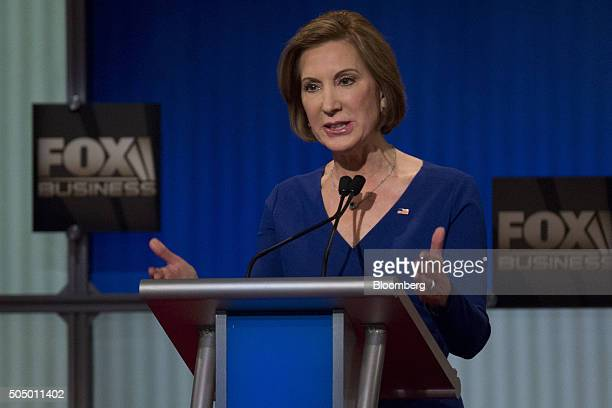 Carly Fiorina former chairman and chief executive officer of HewlettPackard Co and 2016 Republican presidential candidate speaks during the...