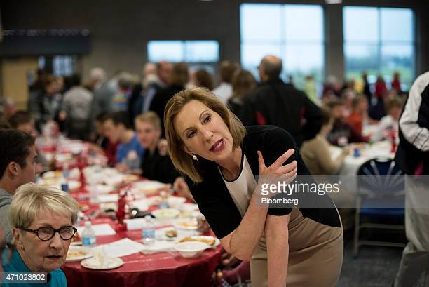 Carly Fiorina former chief executive officer of HewlettPackard Co and likely Republican presidential candidate for 2016 speaks with attendees during...