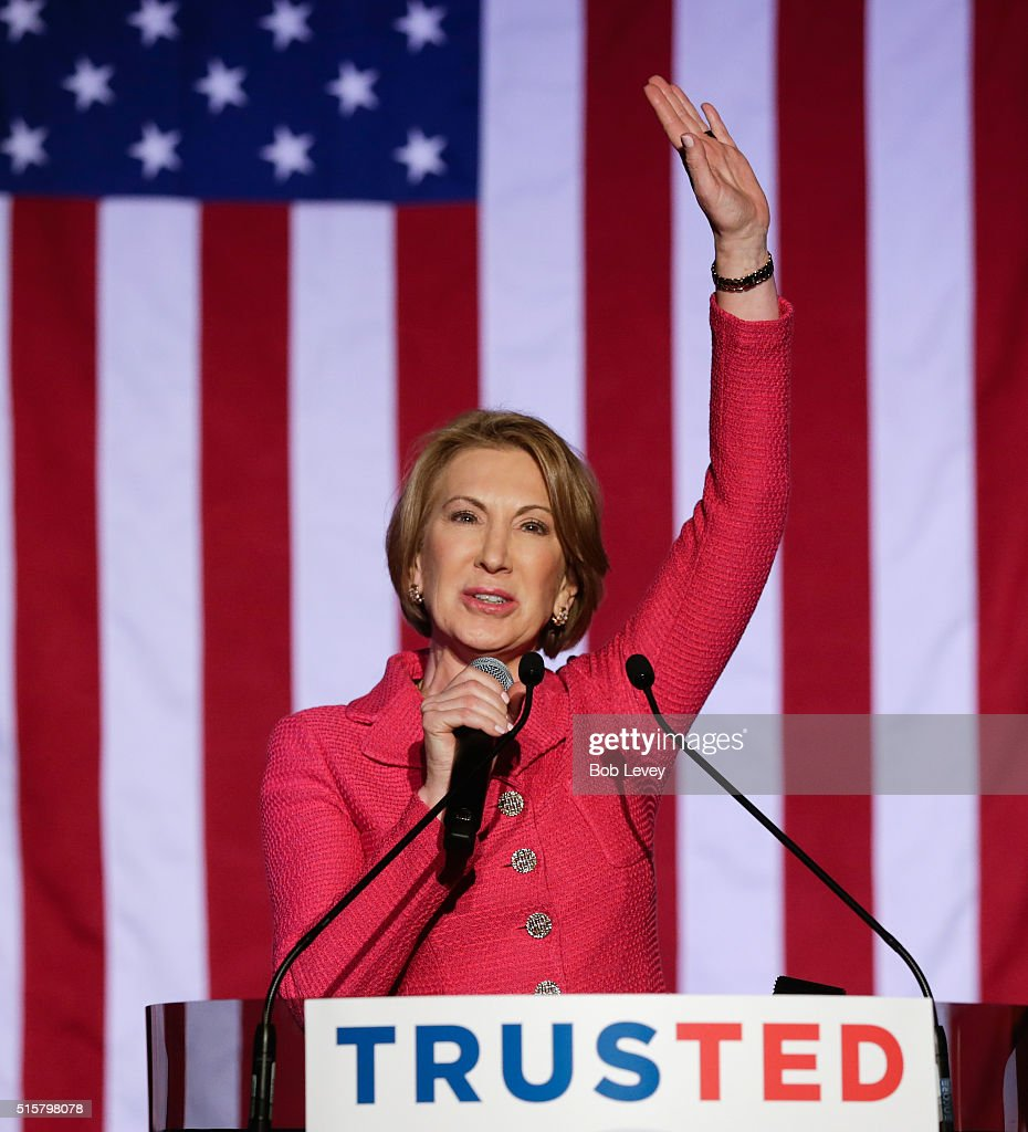 Carly Fiorina speaks at a watch party for Republican presidential candidate, Sen. Ted Cruz, R-Texas on March 15, 2016 in Houston, Texas. Cruz is in a tight race with Donald Trump in the Missouri GOP primary, while Trump took Florida, North Carolina, and Illinois. Gov. John Kasich won his home state of Ohio.