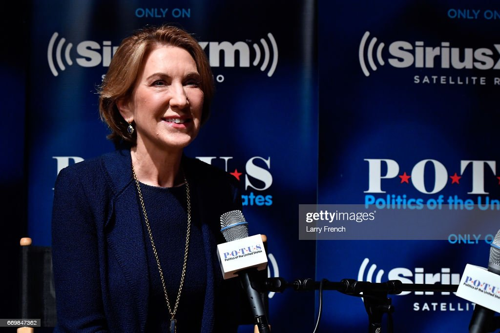 Carly Fiorina talks with host Julie Mason (not pictured) for SiriusXM's 'Leading Ladies' series at SiriusXM Studio on April 18, 2017 in Washington, DC.