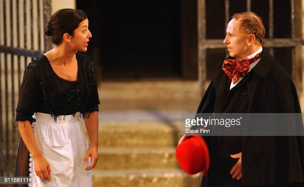 Carly Hillman and Wayne Sleep perform onstage for the press night of Twelfth Night at Holland Park August 10 2004 in London The show kicks off...