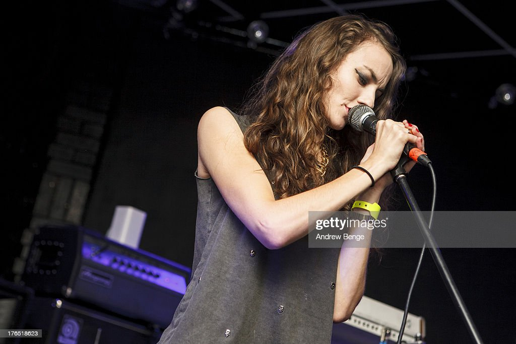 Carly Humphries of Battle Lines performs on stage at Brudenell Social Club on August 14, 2013 in Leeds, England.