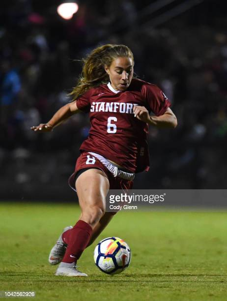 Carly Malatskey of Stanford University in action against University of Arizona at Laird Q Cagan Stadium on September 21 2018 in Stanford California