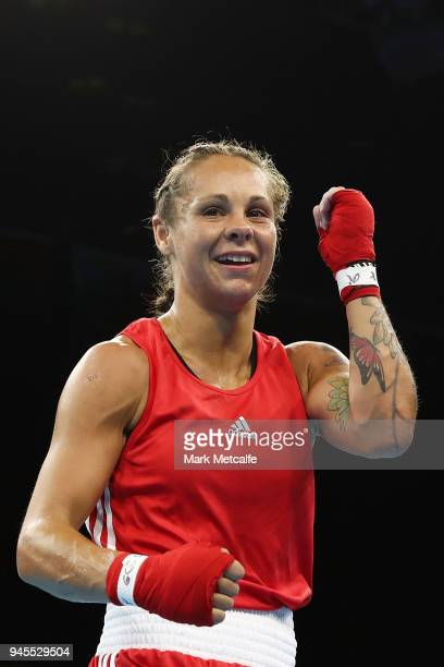Carly McNaul of Northern Ireland poses after winning her Women's Fly 4851kg Semifinal bout against Christine Ongare of Kenya during Boxing on day...