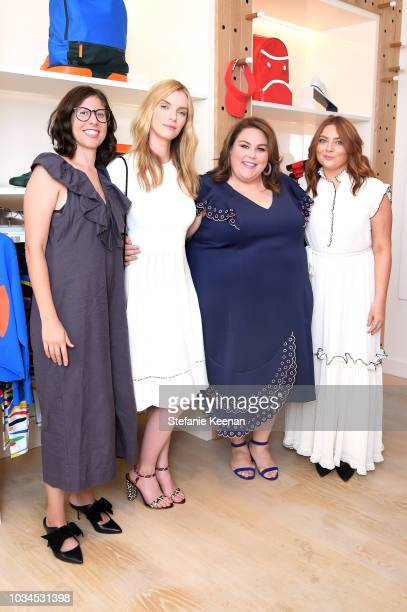 Carly Mensch Betty Gilpin Chrissy Metz and Samantha Barry attend Glamour x Tory Burch Women To Watch Lunch on September 16 2018 in Los Angeles...