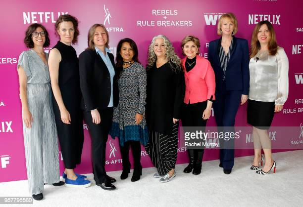 Carly Mensch Liz Flahive Cindy Holland Veena Sud Marta Kauffman Gloria Allred Melissa Rosenberg and Kirsten Schaffer attend the Rebels and Rule...