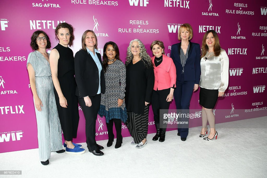 Carly Mensch, Liz Flahive, Cindy Holland, Veena Sud, Marta Kauffman, Gloria Allred, Melissa Rosenberg and Kirsten Schaffer attend the Netflix - Rebels and Rule Breakers For Your Consideration Event at Netflix FYSee Space on May 12, 2018 in Beverly Hills, California.