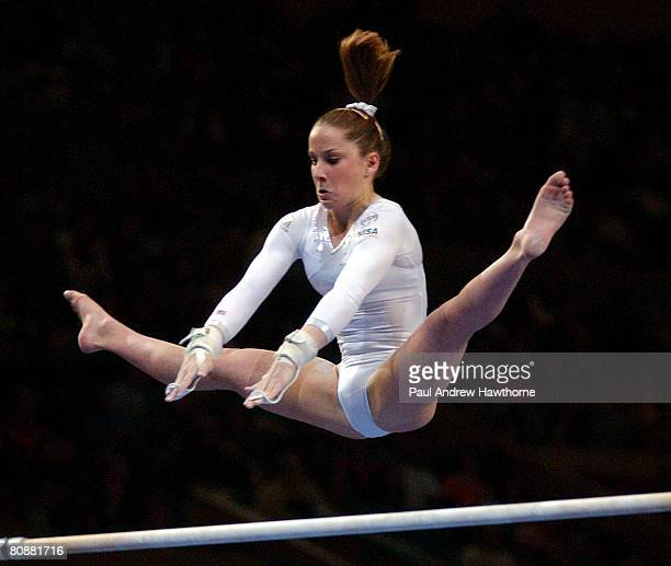 Carly Patterson of the USA competes on the uneven parallel bars during the Visa American Cup February 28 at New York City's Madison Square Garden