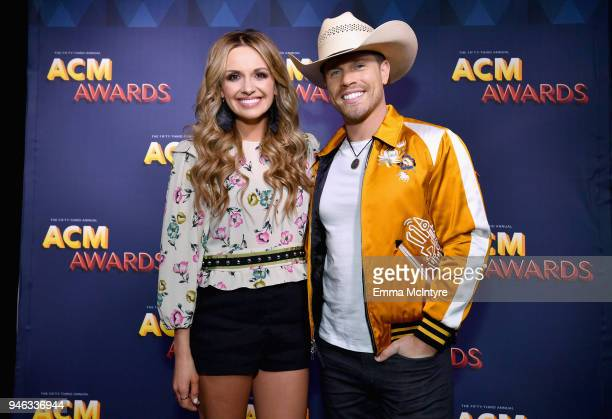 Carly Pearce and Dustin Lynch attend the Radio Awards Reception during the 53rd Academy of Country Music Awards at Topgolf Las Vegas on April 14 2018...