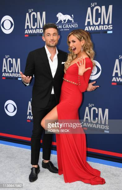 Carly Pearce and Michael Ray arrive for the 54th Academy of Country Music Awards on April 7 2019 in Las Vegas Nevada