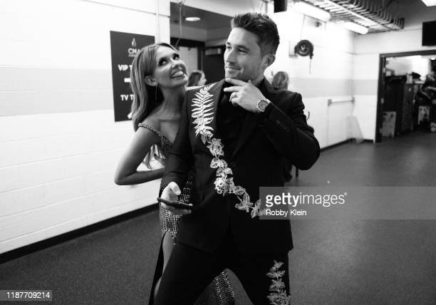 Carly Pearce and Michael Ray backstage at the 53rd annual CMA Awards at Bridgestone Arena on November 13 2019 in Nashville Tennessee