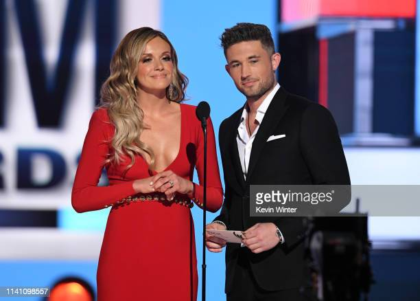 Carly Pearce and Michael Ray speak onstage during the 54th Academy Of Country Music Awards at MGM Grand Garden Arena on April 07 2019 in Las Vegas...