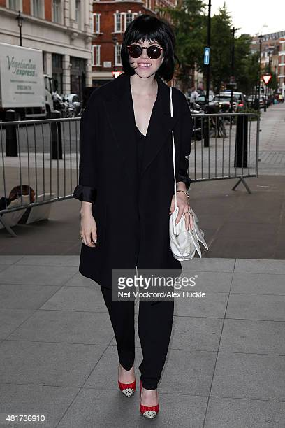 Carly Rae Jepsen arriving at BBC Radio One on July 24 2015 in London England