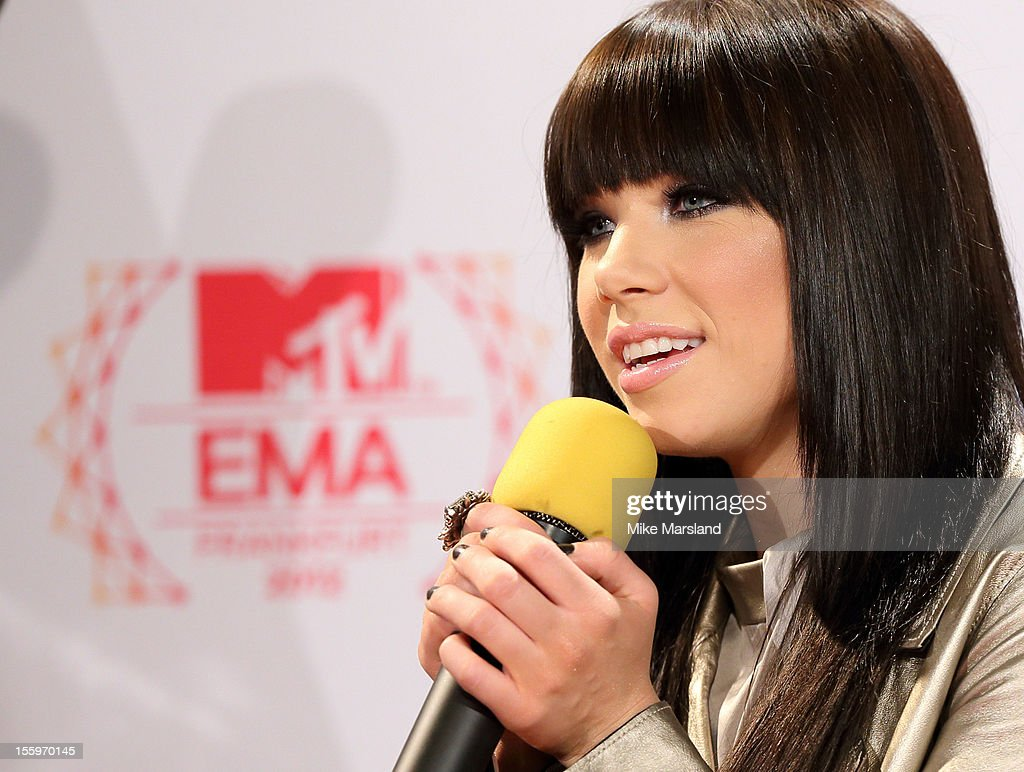 Carly Rae Jepsen attends the photocall ahead of the MTV EMA's 2012 at Frankfurt City Hall on November 10, 2012 in Frankfurt am Main, Germany.