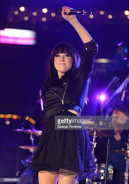 Carly Rae Jepsen performs during the halftime show at the CFL's 100th Grey Cup Championship at the Rogers Centre on November 25 2012 in Toronto Canada