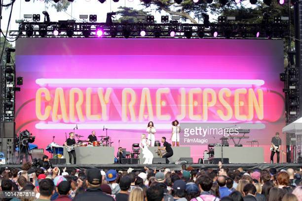 Carly Rae Jepsen performs on the Twin Peaks Stage during the 2018 Outside Lands Music And Arts Festival at Golden Gate Park on August 10 2018 in San...