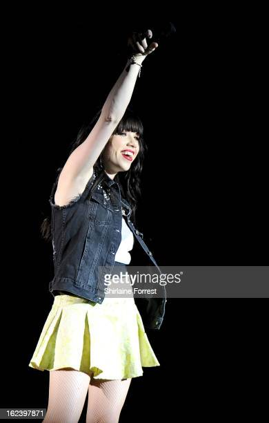 Carly Rae Jepsen performs supporting Justin Bieber at Manchester Arena on February 22 2013 in Manchester England