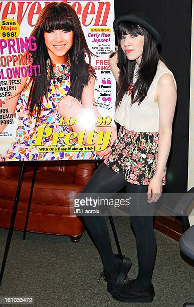 Carly Rae Jepsen signs copies of her 'Seventeen' magazine March cover at Barnes Noble bookstore at The Grove on February 8 2013 in Los Angeles...