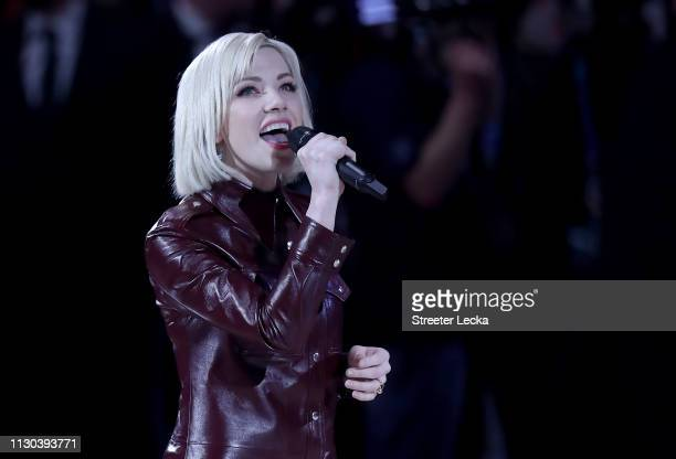 Carly Rae Jepsen sings the Canadian national anthem before the NBA AllStar game as part of the 2019 NBA AllStar Weekend at Spectrum Center on...